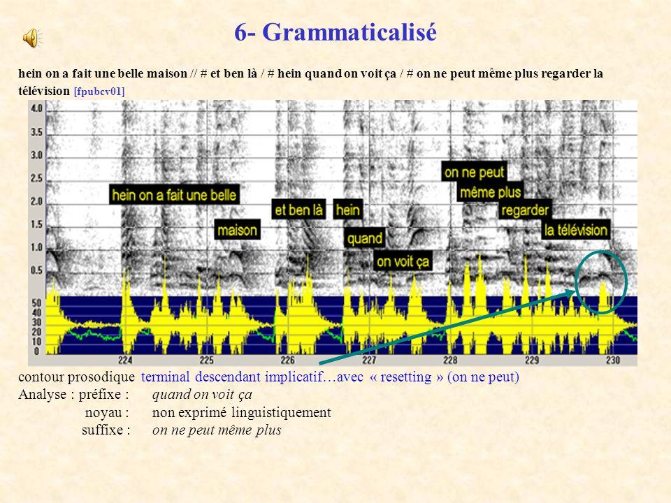 6- Grammaticaliséhein on a fait une belle maison // # et ben là / # hein quand on voit ça / # on ne peut même plus regarder la télévision [fpubcv01]